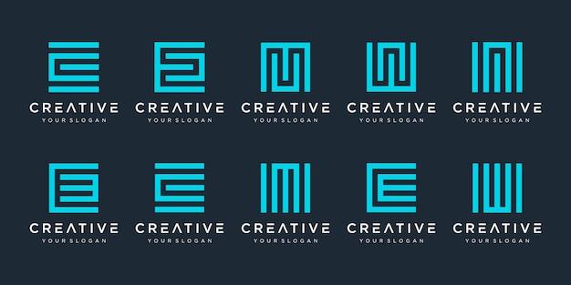 Conjunto de modelo de logotipo criativo estilo quadrado