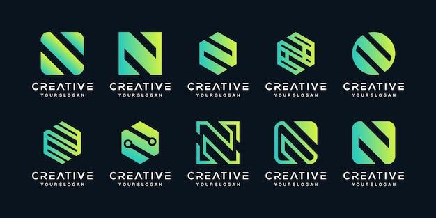 Conjunto de modelo de logotipo criativo letra n.