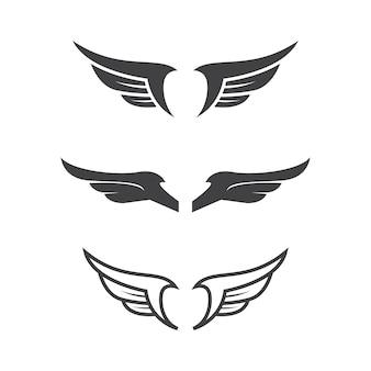 Conjunto de modelo de logotipo da asa