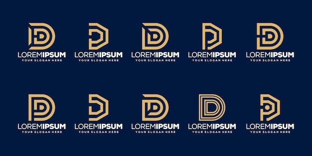 Conjunto de modelo de logotipo da letra d inicial