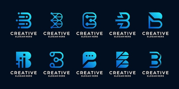 Conjunto de modelo de logotipo da letra inicial da coleção