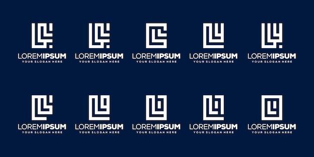 Conjunto de modelo de logotipo da letra l inicial