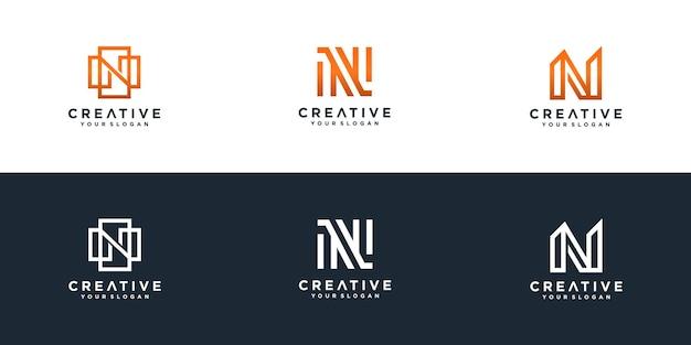 Conjunto de modelo de logotipo da letra n inicial da coleção