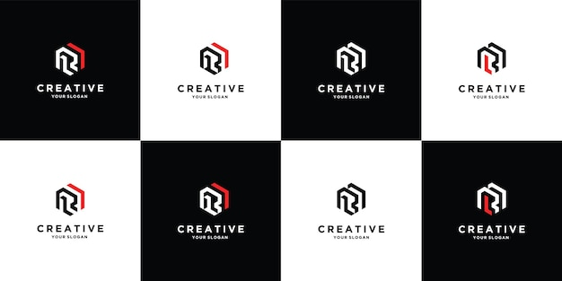 Conjunto de modelo de logotipo da letra r rr vetor premium