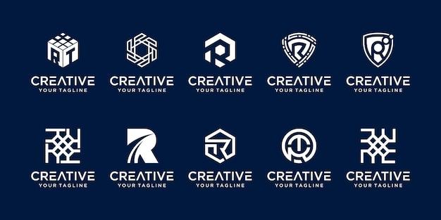 Conjunto de modelo de logotipo da letra r rr
