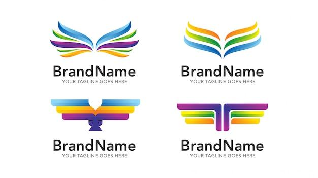 Conjunto de modelo de logotipo de águia de asa