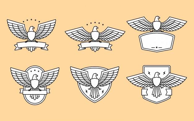 Conjunto de modelo de logotipo de águia e asa