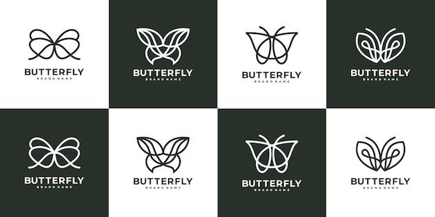 Conjunto de modelo de logotipo de arte em linha de borboleta