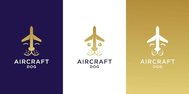 Conjunto de modelo de logotipo de avião de cachorro