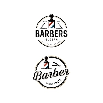 Conjunto de modelo de logotipo de barbearia