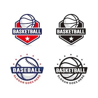 Conjunto de modelo de logotipo de basquete