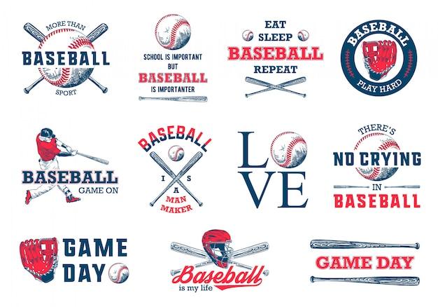 Conjunto de modelo de logotipo de beisebol de mão desenhada