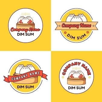 Conjunto de modelo de logotipo de bolinho de massa ou dim sum com flor de sakura em fundo amarelo