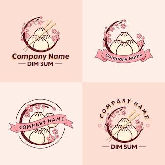 Conjunto de modelo de logotipo de bolinho de massa ou dim sum com flor de sakura em fundo rosa