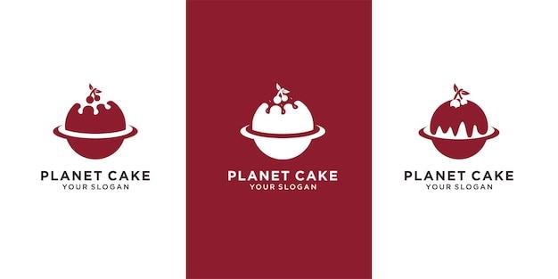 Conjunto de modelo de logotipo de bolo de padaria premium vector