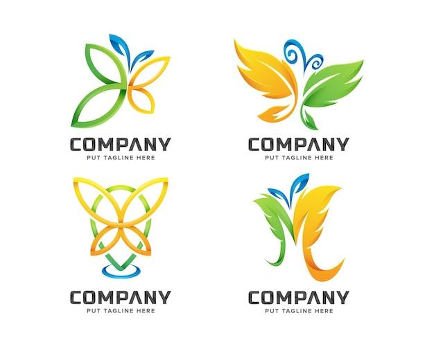 Conjunto de modelo de logotipo de borboleta colorida criativa