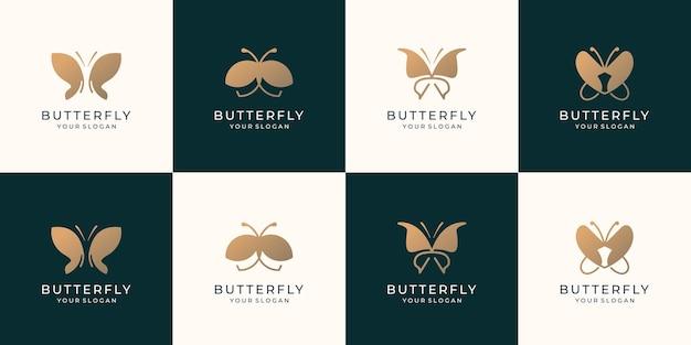 Conjunto de modelo de logotipo de borboleta dourada. coleção beleza borboleta inspiração para empresa de negócios.