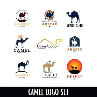 Conjunto de modelo de logotipo de camelo árabe