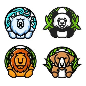 Conjunto de modelo de logotipo de cão leão polar panda