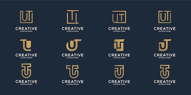Conjunto de modelo de logotipo de combinação de letra u inicial abstrato e letra t. ícones para plano de negócios, linha, inspiração, elegante, simples.