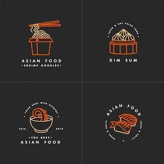 Conjunto de modelo de logotipo de comida asiática
