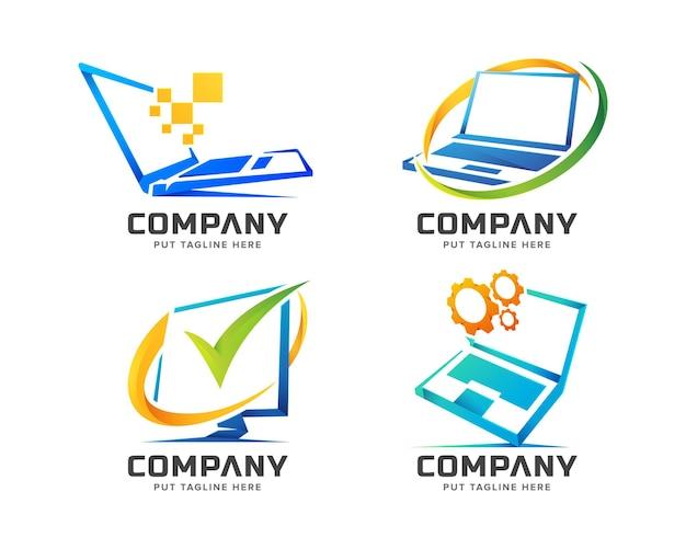 Conjunto de modelo de logotipo de computador de tecnologia colorida Vetor Premium
