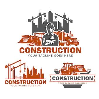 Conjunto de modelo de logotipo de construção, pacote de vetor de logotipo de construção