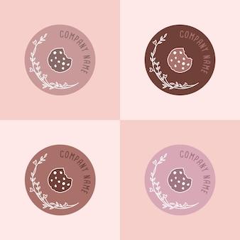 Conjunto de modelo de logotipo de cookies simples e minimalistas com estilo line art em fundo marrom-rosado