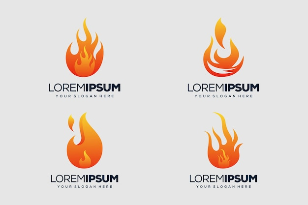 Conjunto de modelo de logotipo de design de logotipo de fogo
