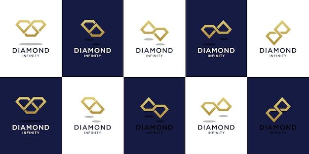 Conjunto de modelo de logotipo de diamante infinito com design de cor dourada