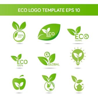 Conjunto de modelo de logotipo de ecologia