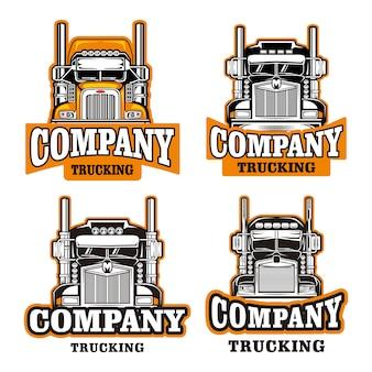 Conjunto de modelo de logotipo de empresa de caminhão