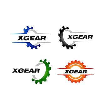Conjunto de modelo de logotipo de engrenagem