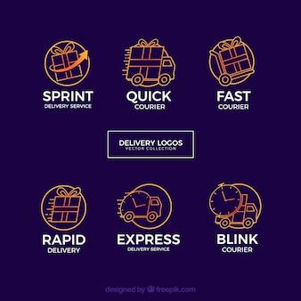 Conjunto de modelo de logotipo de entrega criativa