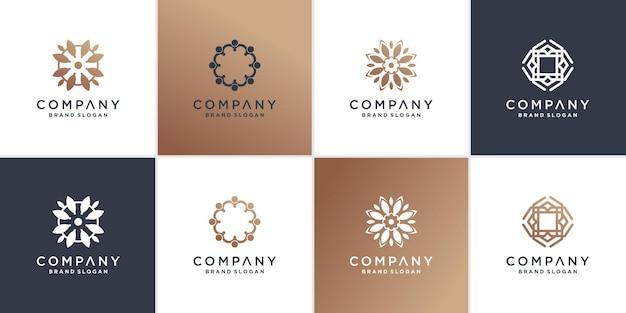 Conjunto de modelo de logotipo de flor abstrata vetor premium