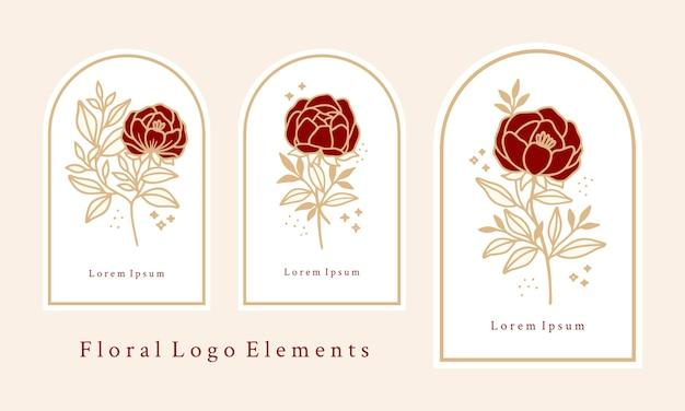 Conjunto de modelo de logotipo de flor rosa botânica vintage desenhada à mão e elementos de marca de beleza feminina