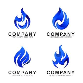 Conjunto de modelo de logotipo de fogo azul