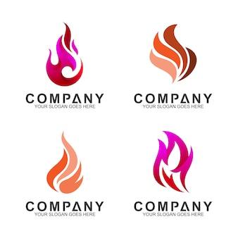 Conjunto de modelo de logotipo de fogo