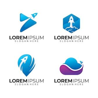 Conjunto de modelo de logotipo de foguete