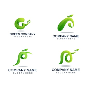 Conjunto de modelo de logotipo de folha verde