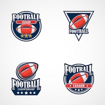 Conjunto de modelo de logotipo de futebol americano