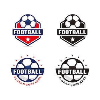 Conjunto de modelo de logotipo de futebol futebol