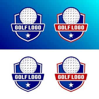 Conjunto de modelo de logotipo de golfe