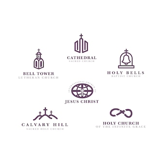 Conjunto de modelo de logotipo de igreja