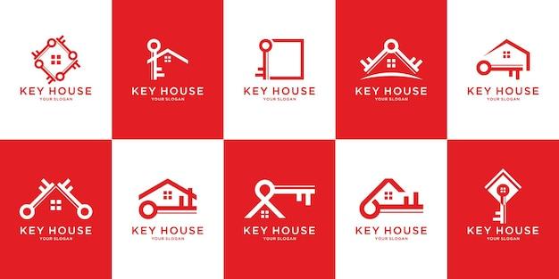 Conjunto de modelo de logotipo de key house criativo