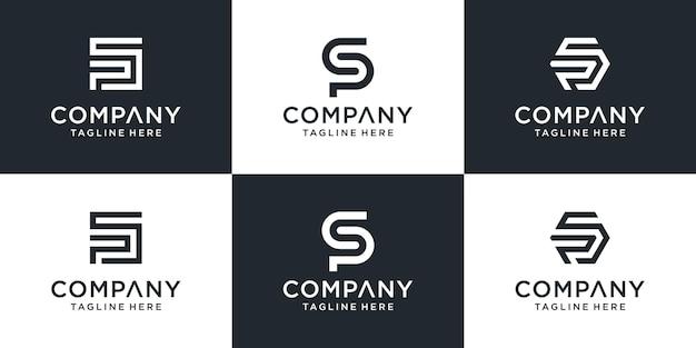 Conjunto de modelo de logotipo de letra de monograma abstrato criativo sp