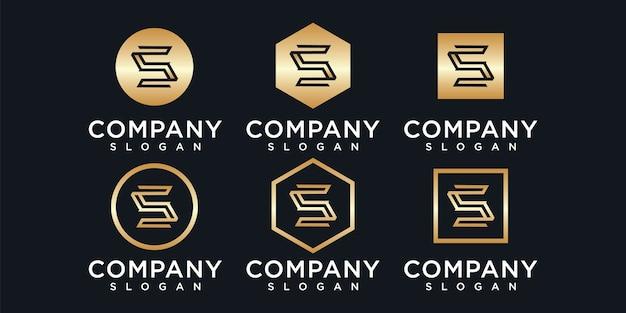 Conjunto de modelo de logotipo de letra de monograma criativo