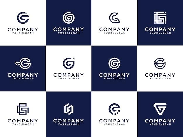Conjunto de modelo de logotipo de letra g de monograma de marca de letra criativa.