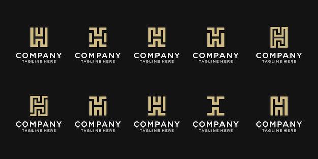 Conjunto de modelo de logotipo de letra h criativo inicial.
