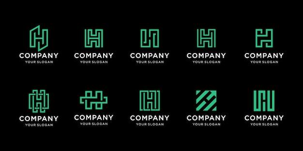 Conjunto de modelo de logotipo de letra h de monograma criativo